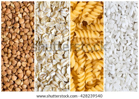 Collage of various meal backgrounds. Pasta, rice, buckwheat, oatmeal - stock photo