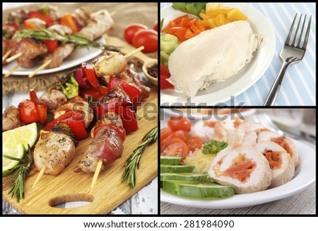 Collage of various meals with meat - stock photo
