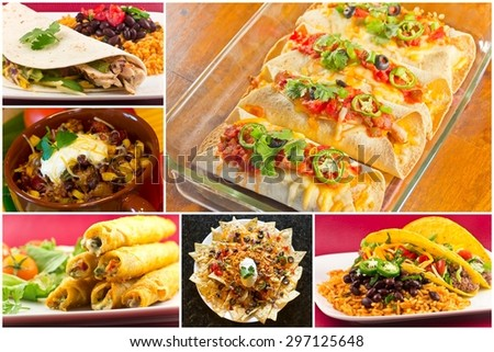 Collage of various Mexican dishes including enchiladas taquidos nachos and fajitas - stock photo