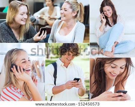 Collage of various people using their mobile phone