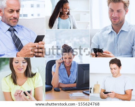Collage of various pictures showing people using their mobile phone - stock photo