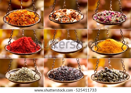 collage of various spices and herbs in balance scale