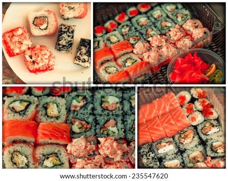 collage of various sushi and sashimi  - stock photo