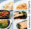 Collage of various types of food - stock photo