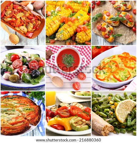 Collage of vegetable dishes - stock photo