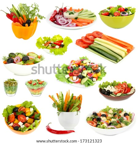Collage of vegetable salads isolated on white