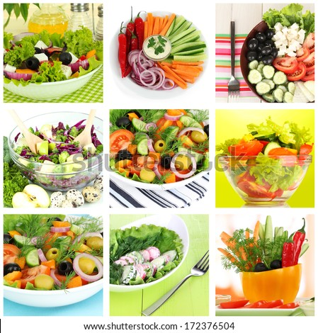 Collage of vegetarian salads - stock photo