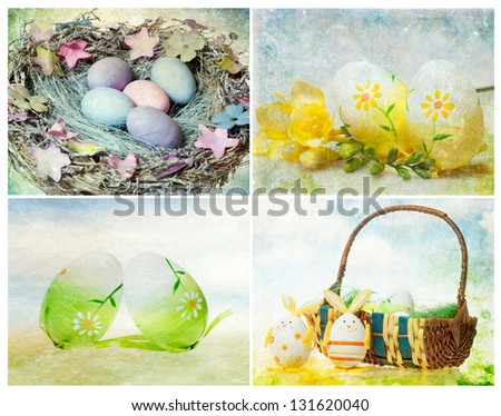 Collage of vintage easter photos - stock photo