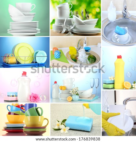 Collage of washing dishes, close-up - stock photo