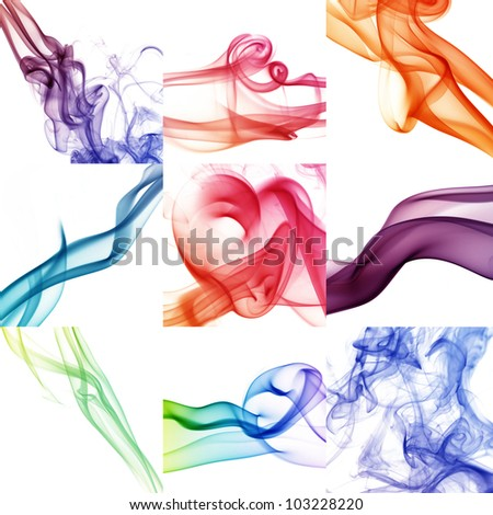 collage of wave and smoke of different colors - stock photo