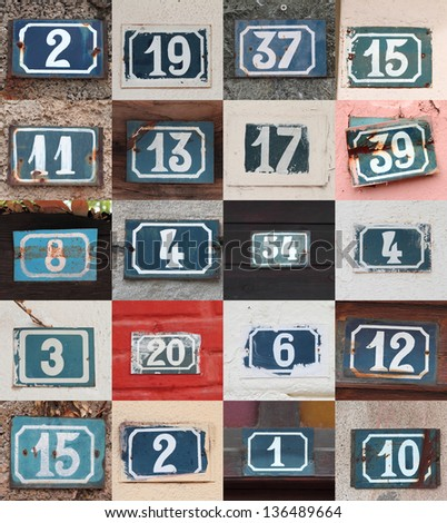 Collage of weathered house numbers on the wall - stock photo