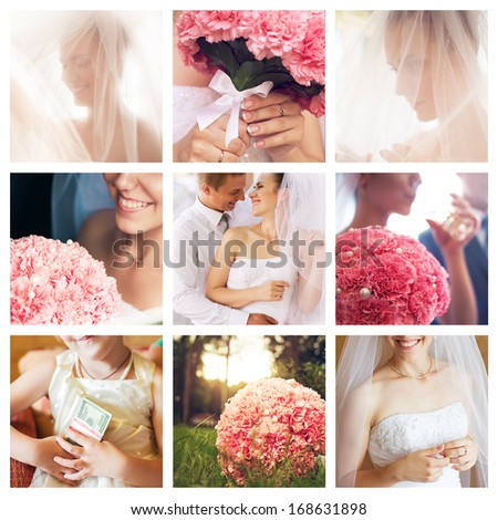 collage of wedding with pink carnations