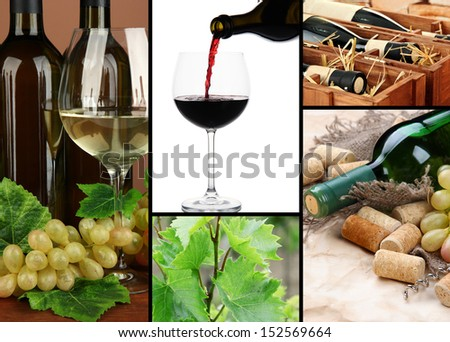 Collage of wine compositions - stock photo