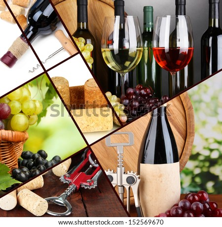 Collage of wine compositions and grapes - stock photo