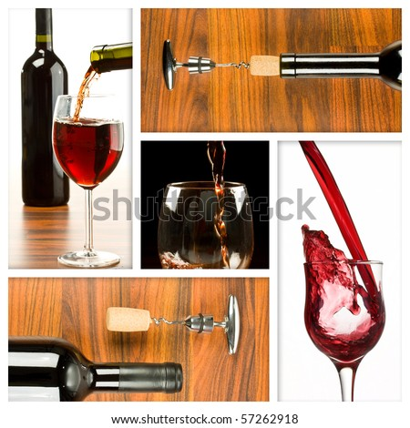 Collage of wine drink related pictures made from five images
