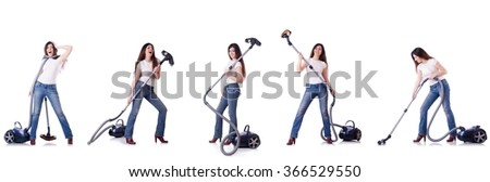 Collage of woman cleaning with vacuum cleaner - stock photo