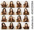 collage of woman different facial expressions - stock photo