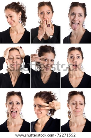 Collage of woman different facial expressions. - stock photo