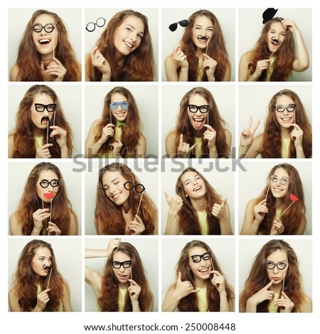 Collage of woman different facial expressions.Ready for party.  - stock photo
