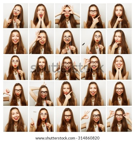 Collage of woman different facial expressions, ready for party - stock photo