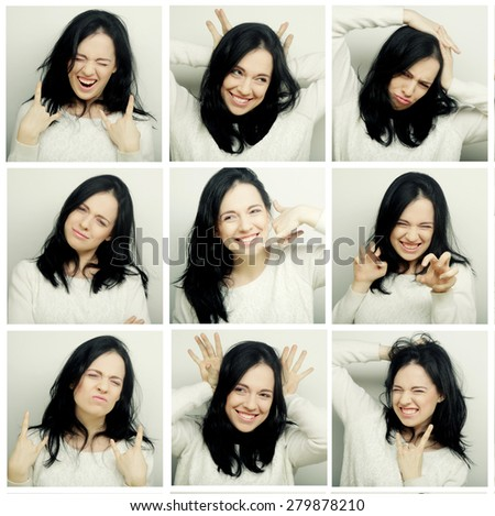 Collage of woman different facial expressions.Studio shot. - stock photo