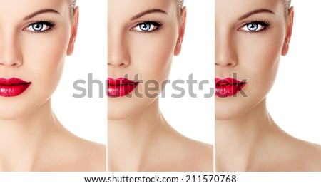 Collage of woman face with different color tan, isolated over white background. Solar care and skin protection concept. - stock photo