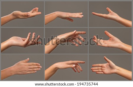 Collage of woman hands on grey backgrounds  - stock photo