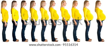 Collage of woman in pregnancy stages isolated on white - stock photo