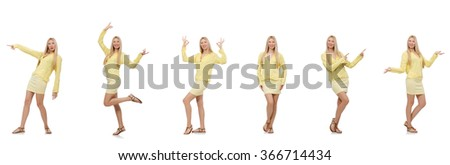 Collage of woman isolated on white - stock photo
