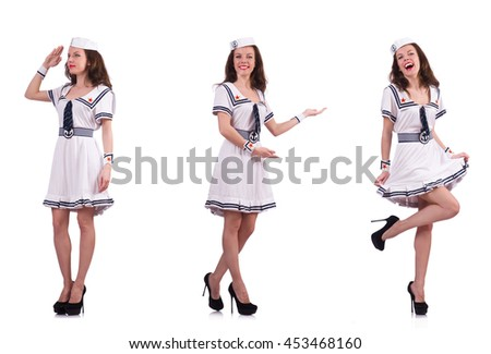 Collage of woman sailor isolated on white - stock photo