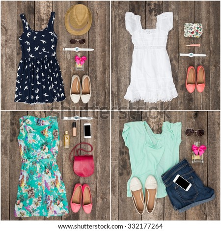 Collage of women's clothes - stock photo