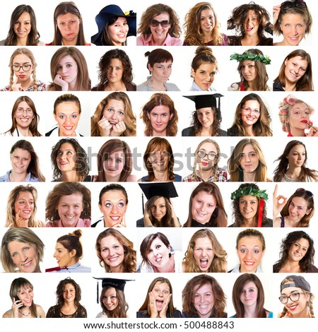 collage of women's faces with different expressions