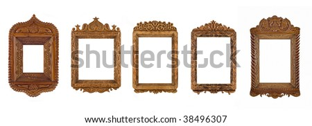 Collage of wooden carved Frames for picture or portrait over white. Full-size images are in my portfolio - stock photo