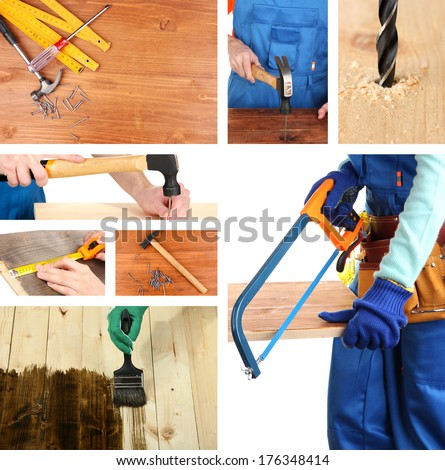 Collage of working man and carpentry tools - stock photo