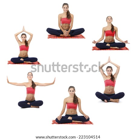 Collage of young beautiful fitness girl doing yoga exercise isolated on white - stock photo