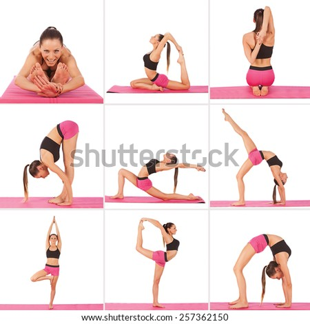 Collage of young beautiful girl posing yoga on white studio - stock photo