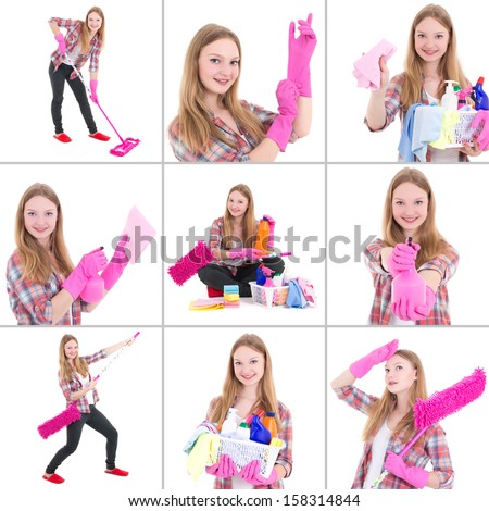 Collage of young beautiful woman doing housework isolated on white - stock photo