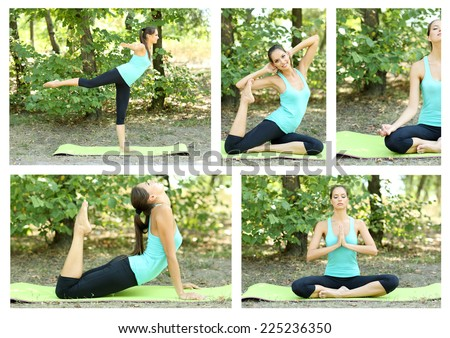 Collage of young beautiful woman doing yoga exercises in park - stock photo