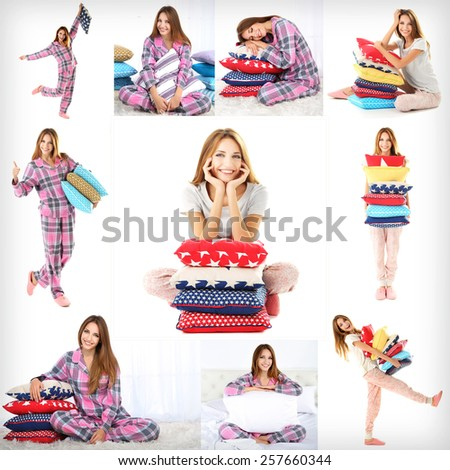 Collage of young beautiful woman with pillows isolated on white - stock photo