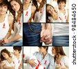 Collage of young couple supporting AIDS campaign and wearing red ribbons - stock photo
