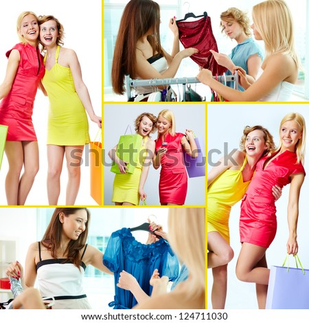 Collage of young females after and during shopping - stock photo