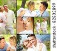 Collage of young happy couple enjoying spending time together on vacation - stock photo