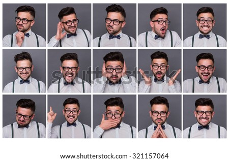 Collage of young hipster man with different facial expressions. Set of handsome emotional man showing several expressions isolated on grey background. - stock photo