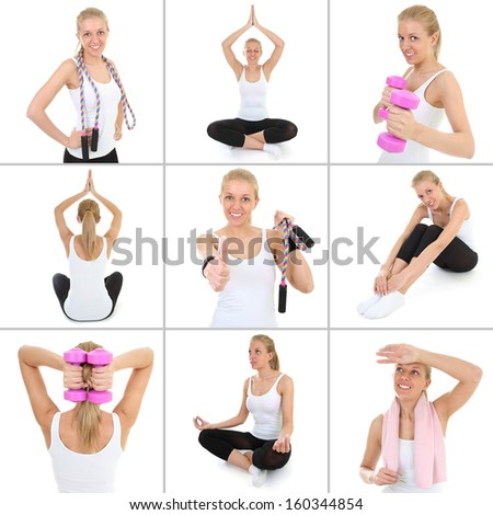 collage of young sporty woman isolated on white background - stock photo