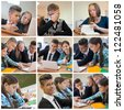 Collage of young students while examination high school - stock photo