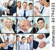 Collage of young successful business people - stock photo