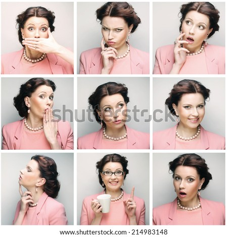Collage of young woman face expressions composite - stock photo