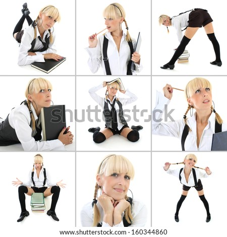 collage of young woman in school form over white - stock photo