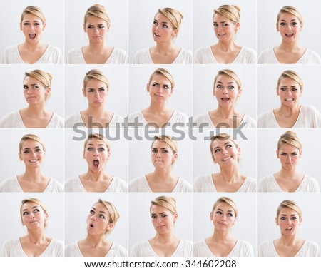 Collage of young woman with various expressions over white background - stock photo