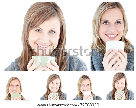 Collage of young women drinking a hot drink against a white background - stock photo